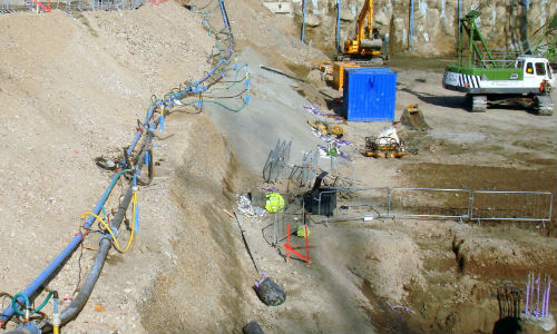 The ejector pumps all set up and working for the construction of the London Olympic Aquatic Centre.